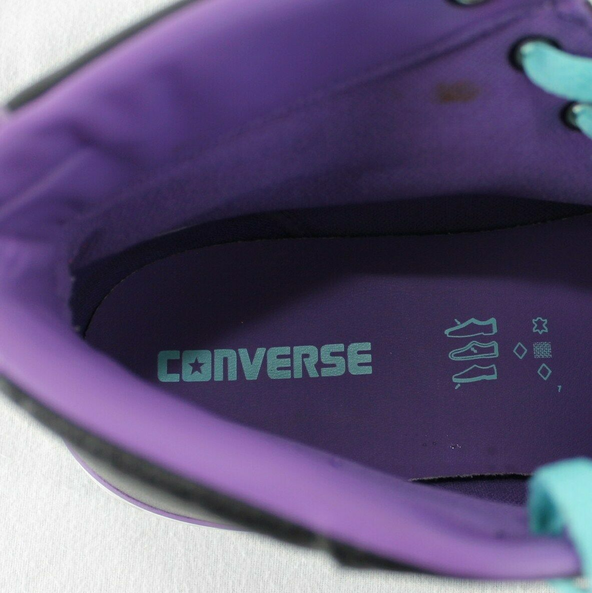 Converse All Star Leather High Top Shoes Mens 9 Womens 11 Black Blue Purple image 10
