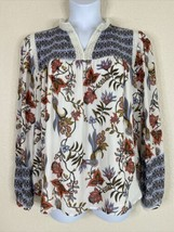 LOFT Womens Size XL Floral Geometric Pattern Blouse Crochet V Neck  - $16.83