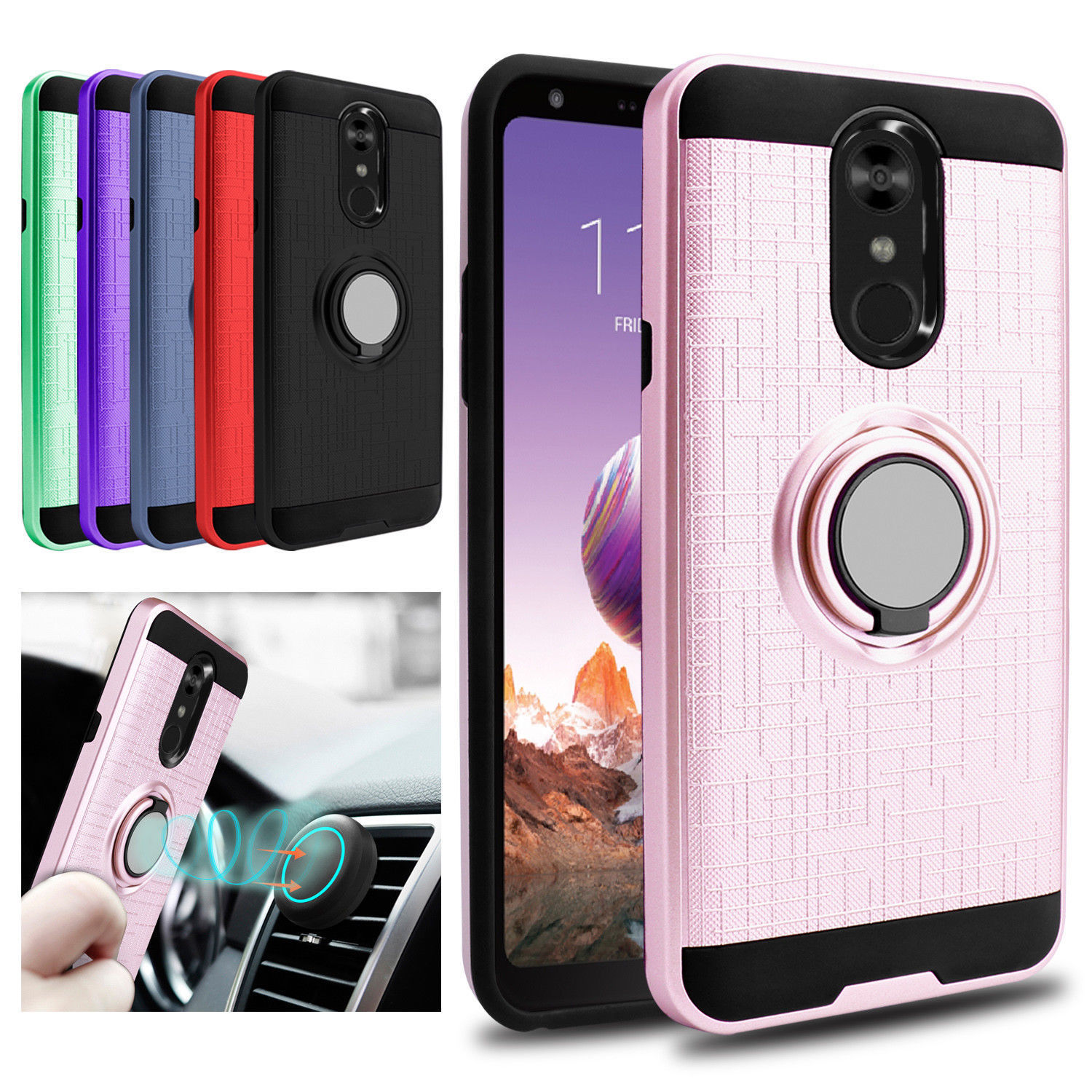 For LG Stylo 4 / 4 Plus / Q Stylo Case Shockproof Phone Cover Ring Holder Stand