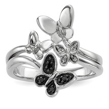 STERLING SILVER 0.05CT BLACK AND WHITE DIAMOND BUTTERFLY  RING - SIZE 6 - £71.80 GBP