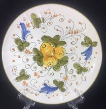 "Italian Fruit Floral Orange Green Trim Divided Serving Plate Italy 9.5"" - $18.49"