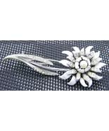VTG 1950s Silver Tone PEGASUS CORO Clear Rhinestone White Enamel Flower ... - $39.60