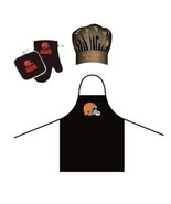 NFL Cleveland Browns Barbeque Apron, Chef's Hat and Pot Holder Deluxe Set - $30.99