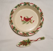 "Pie Plate & Server Set Ceramic Red Robin Pinecone Holiday 9"" Plate 9.25""... - €13,02 EUR"