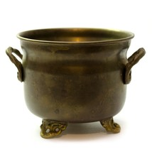 Vintage Solid Brass Footed Small Flower Pot Planter With Handles 4 inch  - $22.74