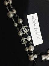 Authentic Chanel Classic 5 Crystal CC Logo Long Beaded Faux Pearl Necklace MINT image 2