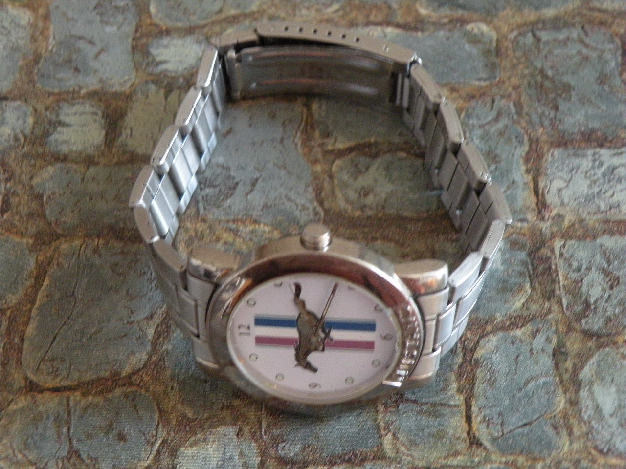 Men's Ford Mustang Wrist Watch Pony Horse Colorful Logo Stainless Steel