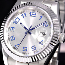 40MM parnis white dial blue marks vintage automatic movement mens watch P27 - $151.97