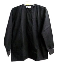 Black Warm Up Jacket Natural Uniforms Scrubs Solid Round Neck 3XL Unisex... - $21.53