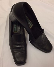 Cole Haan Womens Black Leather Block Chunky High Heel Loafers Size 8AA - $24.99