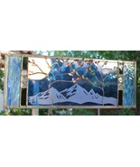 Stained Glass Window Panel wedding personalized trees Beveled blue anniv... - $157.41