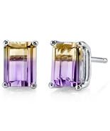 14K White or Yellow Gold Emerald Shape 2 Carat Ametrine Stud Earrings - $179.99