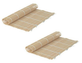 Set Of 2 Japanese Style Sushi Roll Maker Bamboo Rolling Roller Mat Prepa... - $9.89