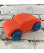 Vintage Toy Car Neon Orange Preschool Toddler Play Vehicle Easy-Roller Collector - $14.84