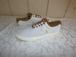 $59.00 Polo Ralph Lauren Vaughn Shirting Stripe Sneakers, US 10, D, White/Khaki - $43.47 CAD