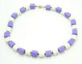 Purple White Geometric Acrylic Bead Beaded Gold Tone Vintage Choker Neck... - $19.79