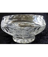 Glass Bowl with Etching and Ribbon Edge Vintage Clear Glass - $21.99