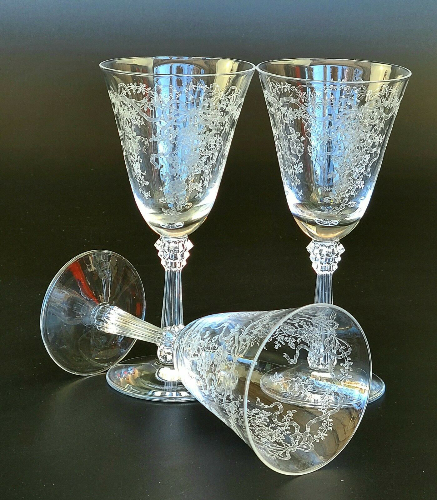 Primary image for Vintage Romance by Fostoria - Claret Wine Glasses - Set of 3