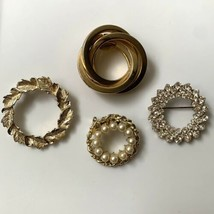 Gerrys and Unsigned Circle Brooch Pin Lot Plus Scarf Clip Rhinestone Fau... - $17.77