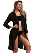 Black Lightweight Knit Pocket Beach Coverup Cardigan - $15.00