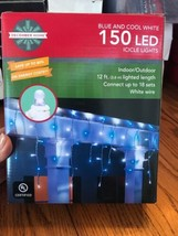 December Home Blue & White 150 LED ICICLE Lights 12ft. Indoor/Outdoor Sh... - $21.76