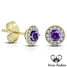 Beautiful Flower Shape Stud Earrings Purple Amethyst 18k Gold Plated 925... - $52.00