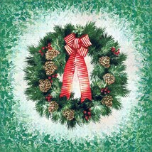 Welcome Home~ Wreath Digital Panel 24'' x 44'' Christmas Cotton Fabric b... - $16.10