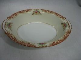 Vintage Cream Floral Oval China Rose Serving Bowl Dish Marked Japan - $12.16