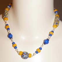 Antique Venetian Art Glass Trade Bead Blue Goldstone Crystal Necklace - $165.00