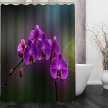 Best Nice Custom Orchids Flower Shower Curtain Bath Curtain Waterproof Fabric Fo image 3