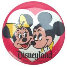 Vintage 80s Walt Disney World Mickey Minnie Mouse Heart Pinback Button - $16.73