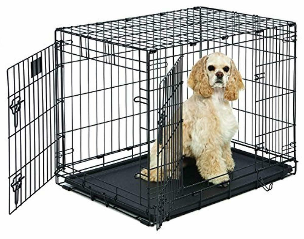 "Primary image for Medium Dog Crate | MidWest Life Stages 30"" Double Door Folding Metal Dog Crate 