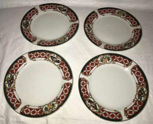 WINDSOR Gibson China Christmas Green Red Checked Rocking Horse Salad Plates (4)