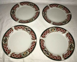 WINDSOR Gibson China Christmas Green Red Checked Rocking Horse Salad Plates (4) image 1