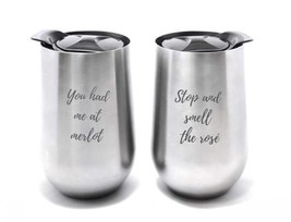 Set of 2 Stainless Steel Stemless Wine Glasses with Lid Unbreakable - 16... - $22.55