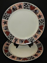 """2 Oneida D. C. Brown & Co American Quilt 10 1/2"""" Dinner Plates Red White... - $34.64"""