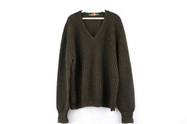 Vintage 50s Mens Size 44 Scottish Wool Cable Knit Long Sleeve V-Neck Swe... - $39.55
