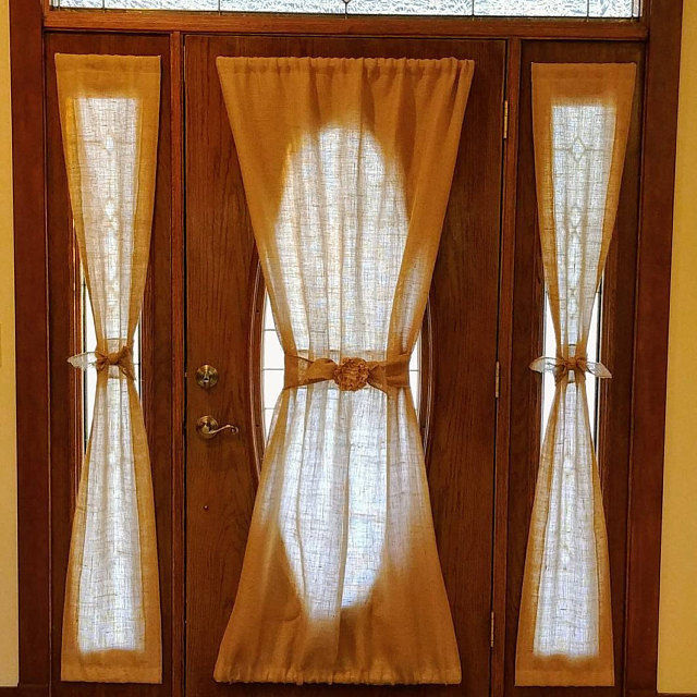 Primary image for Burlap French Door Panel, Sidelight Curtain, Two sizes, Natural burlap, unlined