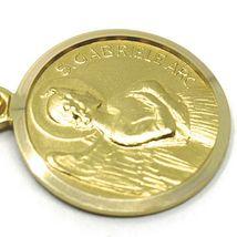 SOLID 18K YELLOW GOLD ROUND MEDAL, SAINT GABRIEL ARCHANGEL, DIAMETER 15mm image 3