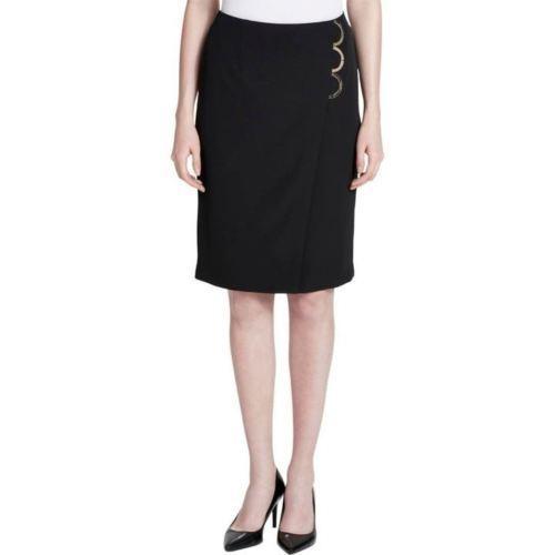 Calvin Klein Womens Knee Length Black Pencil A-Line Skirt Size 4 - $40.00