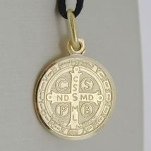 Pendant Yellow Gold Medal 750 18k, Protection, ST. BENEDICT, CROSS, SOLID image 7