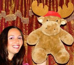 "Commonwealth Moose Plush 18"" Stuffed Animal Vintage 1991 Christmas RED HAT LOVEY - $26.92"