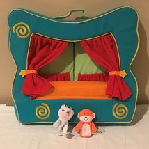 Finger Puppet Stage Table Top Theater Show Plush Portable Toy with 2 Pup... - $24.99