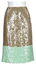 J Crew Collection Pencil Skirt In Colorblock Sequin 4 79046 Multi Color - $183.99