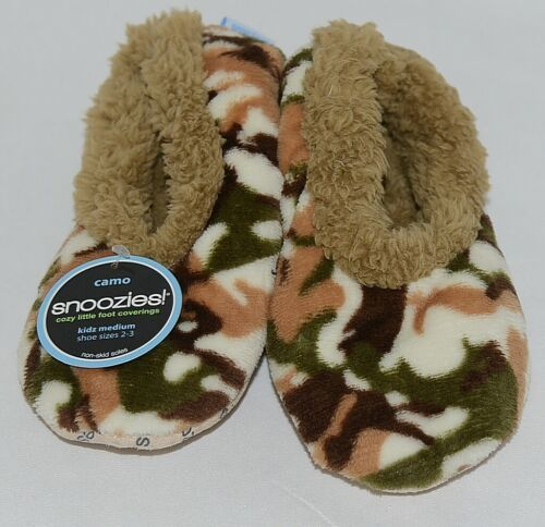 Snoozies Brand KCM005 Natural Camel Camouflage Kids House Slippers Size M