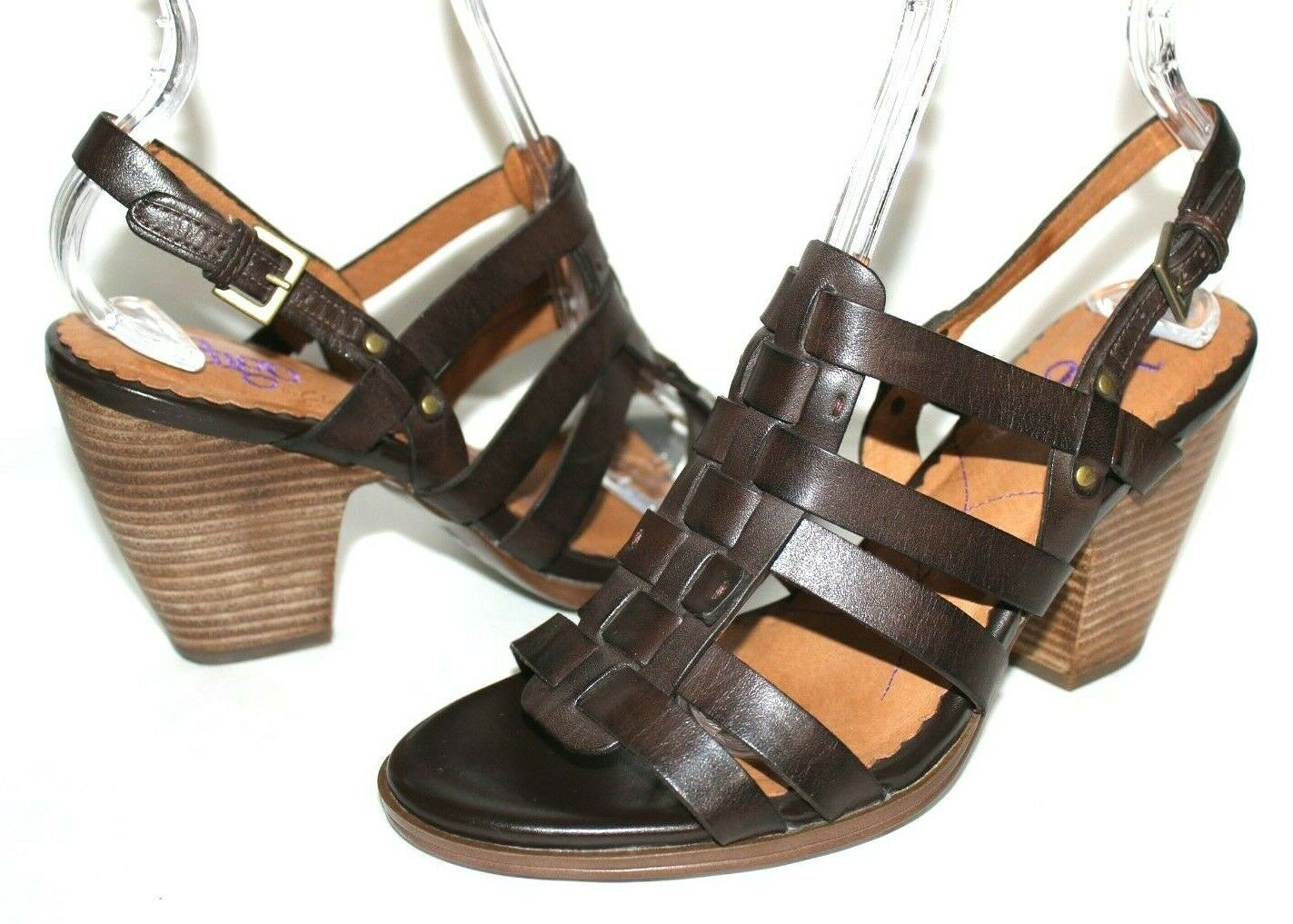 ✿ INDIGO by Clarks Woven Strappy Slingback Heeled Sandals 8 M EXCELLENT! L@@K!26