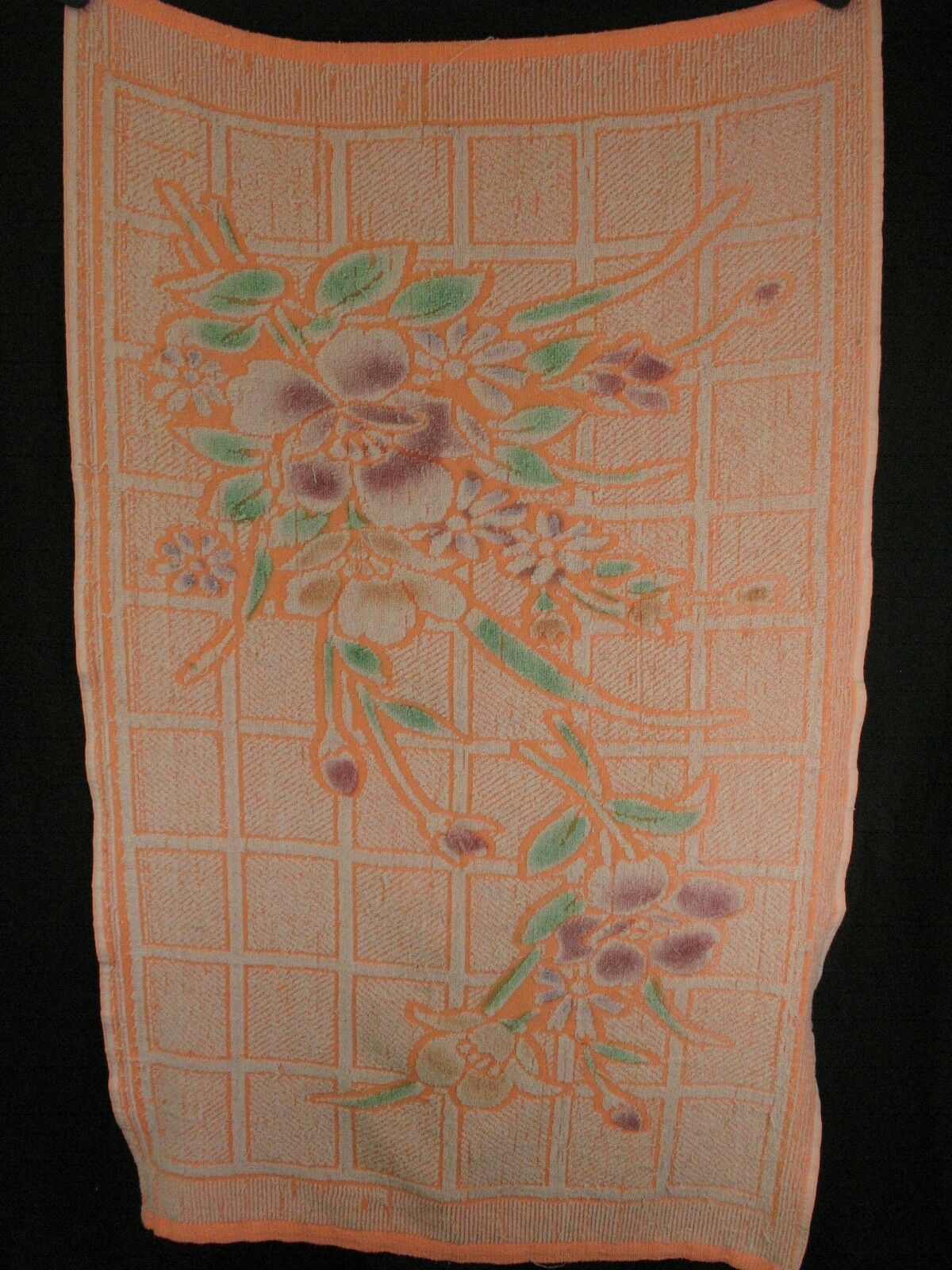 Unitex Intl Vintage Bath towel Neon Orange Floral