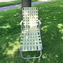 Vintage Aluminum Folding Lawn Chaise Lounge Chair Webbing Mid Century Mo... - $68.90