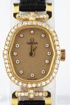 Vintage 18k Yellow Gold and Diamond Omega Ladies Quartz Watch w/ Leather... - $3,445.20