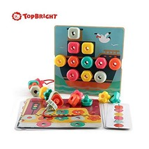TOP BRIGHT Stacking Peg Board Toy Set, Montessori Occupational Therapy Fine Moto